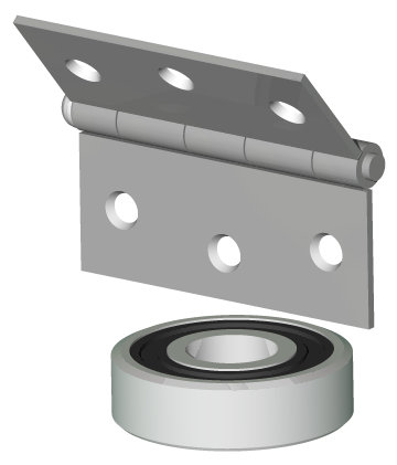 3D drawing of hinge with ballbearing